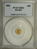 California Fractional Gold: , 1866 25C Liberty Round 25 Cents, BG-804, R.4, MS64 PCGS. PCGSPopulation (29/20). NGC Census: (1/2). (#10665)...