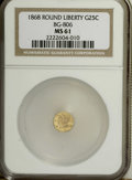 California Fractional Gold: , 1868 25C Liberty Round 25 Cents, BG-806, R.3, MS61 NGC. NGC Census:(2/36). PCGS Population (3/141). (#10667)...