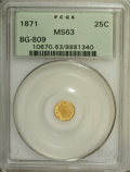 California Fractional Gold: , 1871 25C Liberty Round 25 Cents, BG-809, Low R.4, MS63 PCGS. PCGSPopulation (19/51). NGC Census: (2/5). (#10670)...