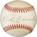 Autographs:Baseballs, Rick Ferrell Single Signed Baseball. Blue pen signature on thesweet spot of an Official AL Bobby Brown ball. Toning along ...