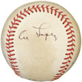 Autographs:Baseballs, Al Lopez Single Signed Baseball. Blue pen signature on the sidepanel of an Official AL MacPhail ball. Toning along all of...