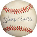 Autographs:Baseballs, Mickey Mantle Single Signed Baseball. The Mick offers a flawless10/10 blue ink sweet spot signature for your collecting pl...