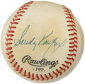 Autographs:Baseballs, Sandy Koufax Single Signed Baseball. Blue pen signature on the sidepanel of an Official NL Feeney ball. Some toning along ...