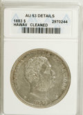 Coins of Hawaii: , 1883 $1 Hawaii Dollar--Cleaned--ANACS. AU53 Details. NGC Census:(11/123). PCGS Population (22/146). Mintage: 500,000. (#1...