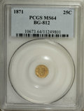 California Fractional Gold: , 1871 25C Liberty Round 25 Cents, BG-812, Low R.5, MS64 PCGS. PCGSPopulation (14/12). NGC Census: (1/0). (#10673)...