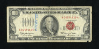 Fr. 1550 $100 1966 Legal Tender Note. Very Good. Partial teller stamps are observed along with a couple of approximate q...