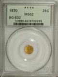 California Fractional Gold: , 1870 25C Liberty Round 25 Cents, BG-832, Low R.6, MS62 PCGS. PCGSPopulation (7/4). (#10693)...