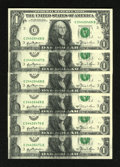 Error Notes:Ink Smears, Fr. 1911-C $1 1981 Federal Reserve Note. Six Consecutive ExamplesGem Crisp Uncirculated.. This is an unusual error grouping...(Total: 6 notes)