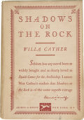 Books:First Editions, Willa Cather. Shadows on the Rock. New York: Alfred A.Knopf. 1931....