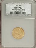 Three Dollar Gold Pieces, 1854-O $3 --Improperly Cleaned--NCS. XF Details....