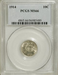 Barber Dimes: , 1914 10C MS66 PCGS. PCGS Population (49/5). NGC Census: (30/1).Mintage: 17,360,656. Numismedia Wsl. Price for NGC/PCGS coi...
