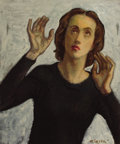 Fine Art - Painting, American:Contemporary   (1950 to present)  , MOSES SOYER (Russian, 1899-1974). Portrait of a Woman. Oilon canvas. 24 x 20 inches (61.0 x 50.8 cm). Signed lower righ...