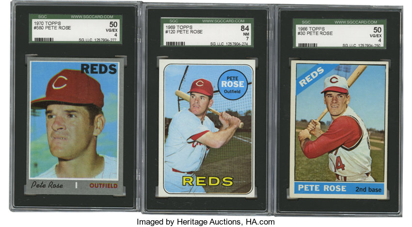 1966 1970 Topps Pete Rose Sgc Graded Group Lot Of 3 Total