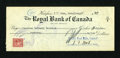 Canadian Currency: , Halifax, NF- Royal Bank of Canada $19.30 Cancelled Check June 30,1944.. ...