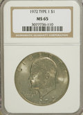 Eisenhower Dollars, 1972 $1 Type One MS65 NGC. PCGS Population (194/4). Numismedia Wsl. Price for NGC/PCGS coin in MS65: $2...