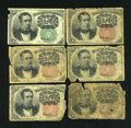 Fractional Currency:Fifth Issue, 10c Fifth Issue Good or Better Notes.. ... (Total: 6 notes)
