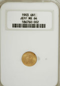 Commemorative Gold, 1903 G$1 Louisiana Purchase/Jefferson MS64 NGC....