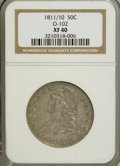 Bust Half Dollars: , 1811/10 50C XF40 NGC. O-102. NGC Census: (4/61). PCGS Population(8/53). Numismedia Wsl. Price for NGC/PCGS coin in XF40:...