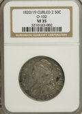 Bust Half Dollars: , 1820/19 50C Curl Base 2 VF35 NGC. O-102. PCGS Population (4/48).(#6126)...
