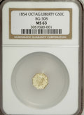 California Fractional Gold: , 1854 50C Liberty Octagonal 50 Cents, BG-308, R.4, MS63 NGC. NGCCensus: (1/2). PCGS Population (15/5). (#10428)...