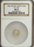 California Fractional Gold: , 1856 50C Liberty Round 50 Cents, BG-434, Low R.4, MS62 NGC. NGCCensus: (5/0). PCGS Population (35/21). (#10470)...