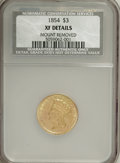 Three Dollar Gold Pieces, 1854 $3 --Mount Removed--NCS. XF Details....