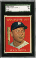 Baseball Cards:Singles (1960-1969), 1961 Topps Mickey Mantle #475 SGC 40 VG 3....