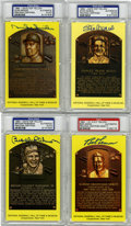 Autographs:Post Cards, Signed Gold Hall of Fame Plaques PSA Graded Group Lot of 4.... (Total: 4 items)