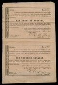 Confederate Notes:Group Lots, CSA $10,000 Interim Deposit Receipt Aug. 30, 1864. Uncut Sheet ofTwo. Very Fine.. ...