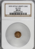 California Fractional Gold: , 1870 50C Liberty Octagonal 50 Cents, BG-920, High R.4, MS62 NGC.NGC Census: (3/1). PCGS Population (21/9). (#10778)...