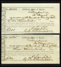 Confederate Notes:Group Lots, Set of Interim Deposit Receipts Issued in Columbia, SC.. ...(Total: 4 notes)