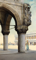 Fine Art - Work on Paper:Watercolor, REGINALD BARRATT (British, 1861-1917). Detail of Doge's Palace,Venice, 1911. Watercolor on paper. 19 x 12 inches (48.3 ...