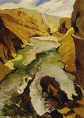Fine Art - Painting, European:Contemporary   (1950 to present)  , EMIL LINDENFELD (Hungarian, b. 1905). River Gorge Scene, 1969. Oil on canvas. 28 x 20 inches (71.1 x 50.8 cm). Signed lo...