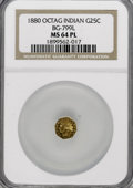 California Fractional Gold: , 1880 25C Indian Octagonal 25 Cents, BG-799L, High R.5, MS64Prooflike NGC. NGC Census: (1/0). (#71...