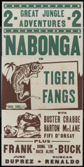 "Movie Posters:Adventure, Nabonga/Tiger Fangs Combo (Madison Pictures, R-1948). Three Sheet(41"" X 81""). Adventure...."
