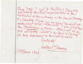 Autographs:Non-American, Musical Conductor Arturo Toscanini Autograph Note Signed. ...
