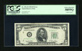 Error Notes:Partial Third Printing, Fr. 1961-B $5 1950 Federal Reserve Note. PCGS Choice About New 58PPQ.. ...