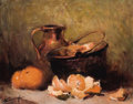 Fine Art - Painting, Russian:Modern (1900-1949), IVAN KARPOV (Russian, 1898-1970). Still Life with Oranges andCopper Pots. Oil on canvas. 16 x 19-3/4 inches (40.6 x 50....