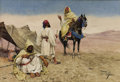 Works on Paper, GIULIO ROSATI (Italian, 1858-1917). Desert Nomads. Watercolor and graphite on paper. 13-3/4 x 20 inches (34.9 x 50.8 cm)...