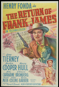"The Return of Frank James (20th Century Fox, 1940). One Sheet (27"" X 41""). Western"