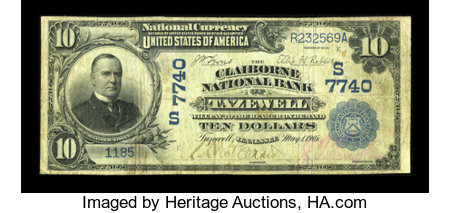 Tazewell, TN - $10 1902 Date Back Fr. 616 The Claiborne NB Ch. # (S)7740 ...