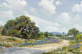 Texas:Early Texas Art - Regionalists, WILLIAM A. SLAUGHTER (American, 1923-2003). BluebonnetHomestead, Spring. Oil on canvas. 24 x 36 inches (61.0 x 91.4cm)...