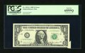 Error Notes:Attached Tabs, Fr. 1913-L $1 1985 Federal Reserve Note. PCGS Gem New 65PPQ.. ...