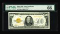 Small Size:Gold Certificates, Fr. 2407 $500 1928 Gold Certificate. PMG Gem Uncirculated 66 EPQ.. ...