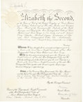 """Autographs:Non-American, Elizabeth II Signed Grant of Dignity. """"Elizabeth R"""", 13"""" x16"""". Signed by Elizabeth the Second, this document is the""""..."""