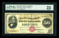 Large Size:Gold Certificates, Fr. 1192a $50 1882 Gold Certificate PMG Very Fine 25....
