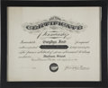Movie/TV Memorabilia:Awards, Glenn Ford's Penmanship Award from 1928....