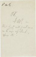 """Autographs:U.S. Presidents, Franklin D. Roosevelt: Autograph Note Signed """"FDR"""". . -Nodate or place. One page. 5"""" x 8"""". In pencil.. -Paper s..."""