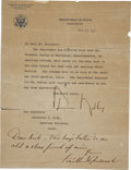 Autographs:U.S. Presidents, Franklin D. Roosevelt: Typed Letter with Autograph Endorsement Signed as President.. -Date-stamped November 25, 1941. Washin...