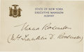 "Autographs:U.S. Presidents, Eleanor Roosevelt: Autograph Card Signed ""Eleanor Roosevelt/(Mrs. Franklin D. Roosevelt)"". . -On gold-embossed ..."